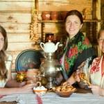 Women near russian samovar — Stock Photo