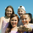 Two happy mothers with teens — Stock Photo