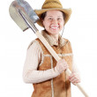 Stock Photo: Pastoral womwith spade