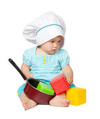 Baby cook in over white — Stock Photo