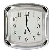 Gray wall clock on the white background — Stock Photo
