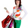 Stock Photo: Beautiful happy woman with shopping bags