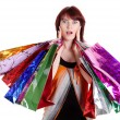 Beautiful happy woman with shopping bags — Stock Photo #5929127