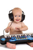 Little boy in headphones — Stock Photo