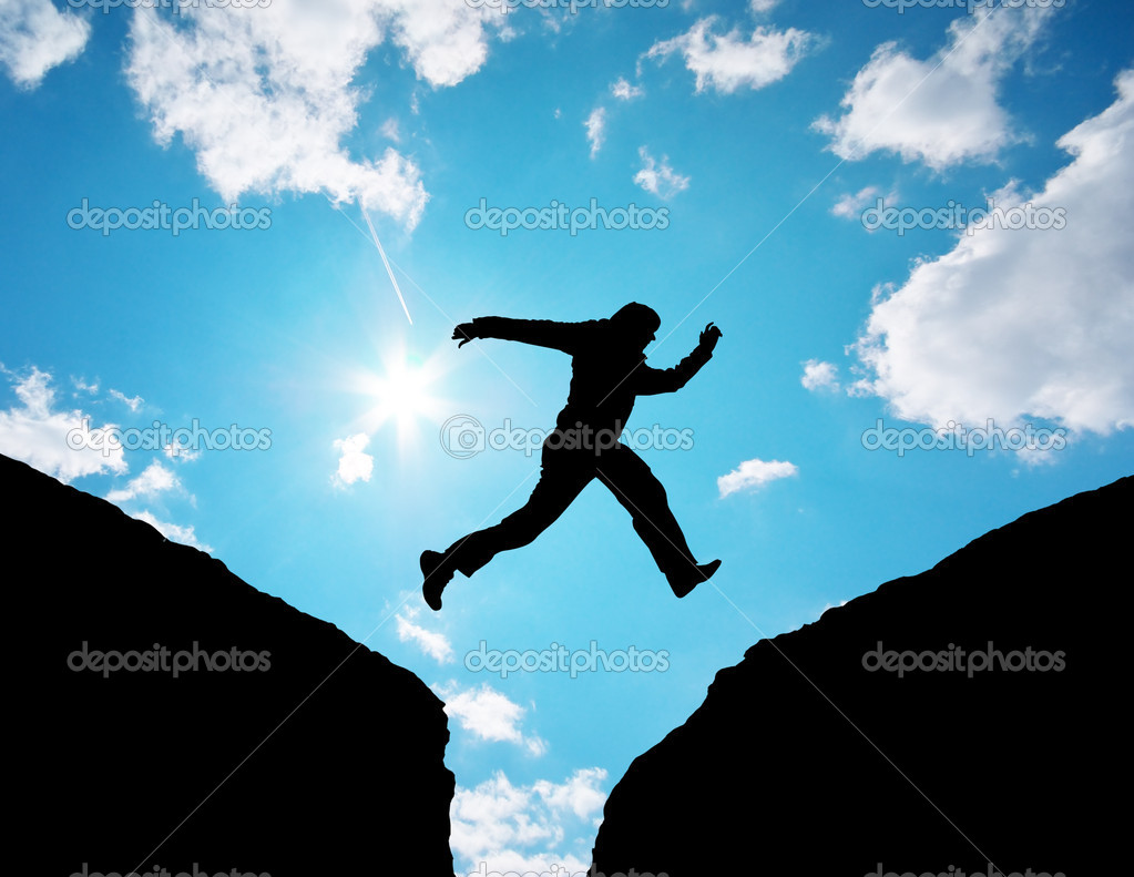 Man jump through the gap. Element of design.  — Stock Photo #6481483