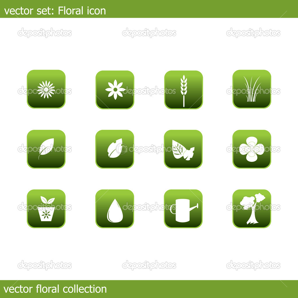 Vector collection of icons on the flora and ecology  Stock Vector #5606775