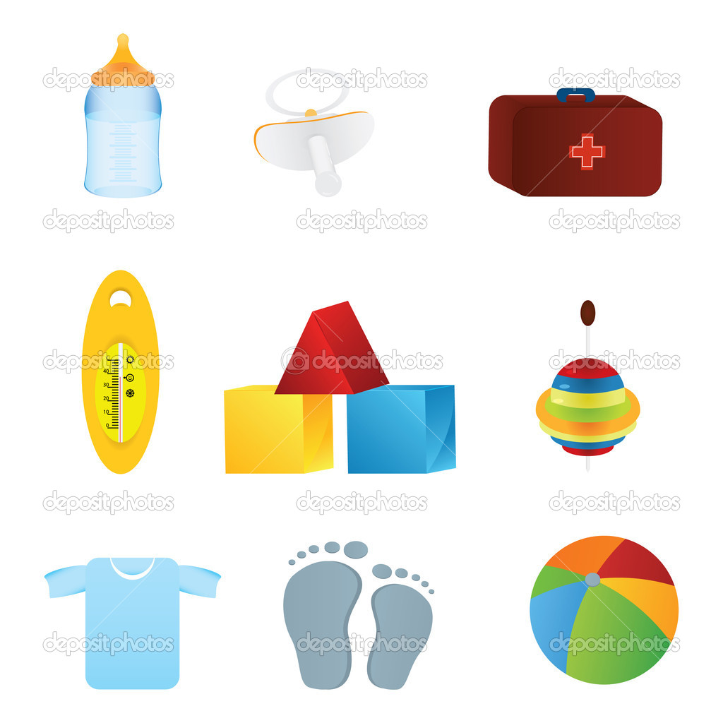 Collection of vector childrens and baby icons — Stock Vector #6044584
