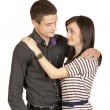 Guy with a girl standing in an embrace — Stock Photo