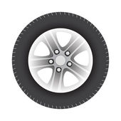 Car wheel vector illustration isolated on white background — Vector de stock