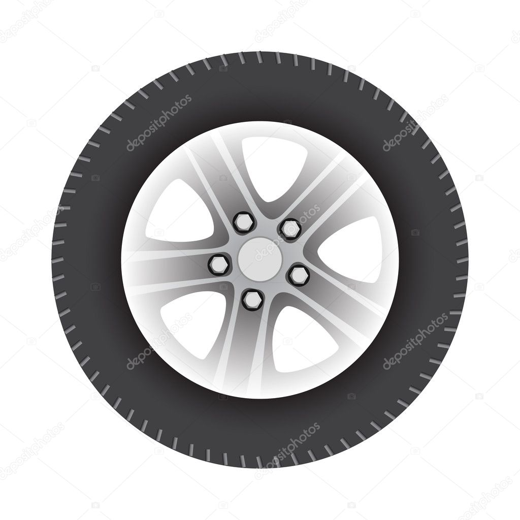Car wheel vector illustration isolated on white background — Stock Vector #6586484