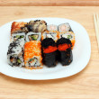 Set of rolls on plate — Foto de Stock