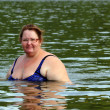 Stock Photo: Plump wombath in river