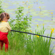 Fishing littlle girl with rod — Stock Photo