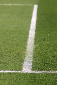Green football soccer field — Stok fotoğraf