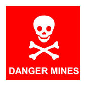 Red sign with skull and text *Danger mines* — Stock Vector