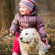Girl with golden retriever — Stock Photo