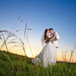 bröllop sunset — Stockfoto