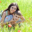 Stock Photo: Couple in poppy field