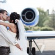 Wedding couple fly on honeymoon — Stock Photo