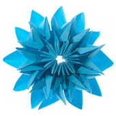 Origami blue snowflake — Stock Photo