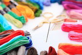 Embroidery floss and needle — Stock Photo