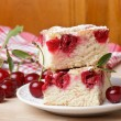 Cherry sponge slice — Stock Photo