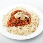 spaghetti i pieczarki — Zdjęcie stockowe