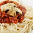 Spaghetti and champignons — Stockfoto