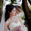 Wedding couple outdoor — Foto Stock