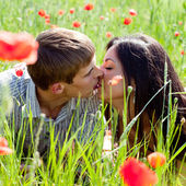 Couple in poppy field — Stock Photo