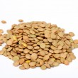 Pile of green lentils from low perspective isolated on white. — Stock Photo