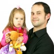 Portrait of happy father and his adorable little daughter — Stock Photo