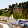 BARCELONA - May 27: The surreal Parc Guell by Antoni Gaudi, one - Stock Photo