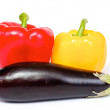 Pepper and eggplant isolated on white background - Stock Photo