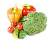 Pepe, broccolo, cetriolo pomodoro, ciliegio — Foto Stock