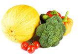 Pumpkin, pepper, broccoli, tomato, cherry, cucumber — Stock Photo