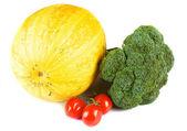 Pumpkin broccoli and tomato cherry — Stock Photo
