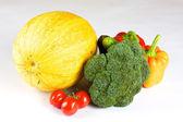 Abóbora, pimenta, brócolis, tomate, cereja, pepino — Foto Stock