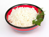 White steamed rice in red round bowl — Stock Photo