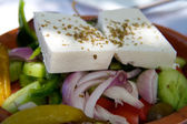 Greek Mediterranean salad with feta cheese, olives and peppers — 图库照片