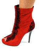 Kobieta czerwone buty na białym tle na białym tle — Zdjęcie stockowe