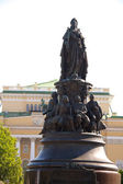 Monument to empress and the Alexandrine theater — Stock Photo
