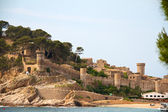 Medieval castle in Tossa de Mar at sunrise, Costa Brava, Spain — Stock Photo