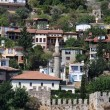 Port Alanya and red brick tower — Stock Photo #6341524
