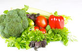 Friska och saftiga grönsaker isolerade — Stockfoto