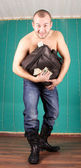 Man with money bag — Stock Photo