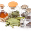 Vinegar bottle, spices and laurel leaf on the white — Stock Photo