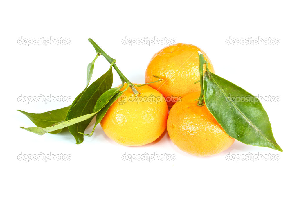 Mandarin with green leaves isolated on white — Stock Photo #6617143