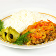 Fired meat, white rice and vegetables — Stock Photo