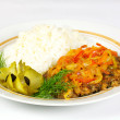 Stock Photo: Fired meat, white rice and vegetables